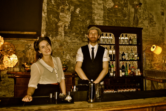 Smiley staff at Jack's Gin Palace hidden away beyond the beer!