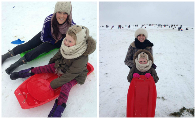 Friends Céara, Alice and Corinna having fun in the snow at cow Hill
