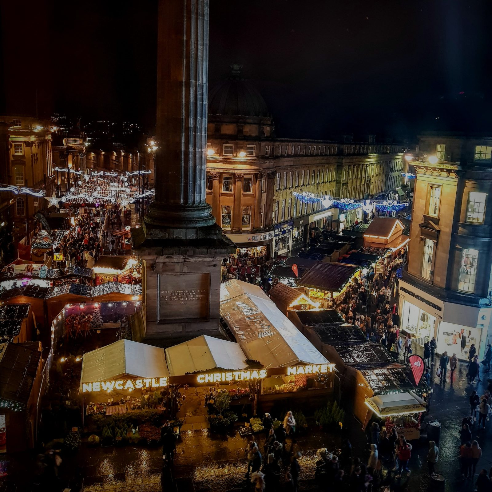 view of the festive market in newcastle from the botanist